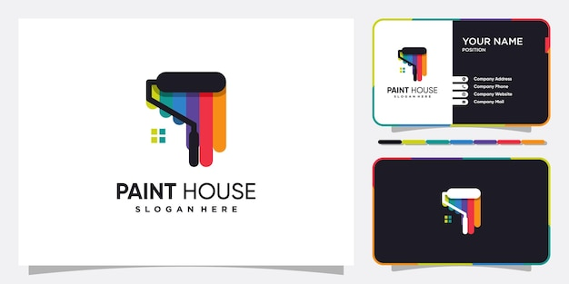 Paint house logo with creative looking concept premium vector
