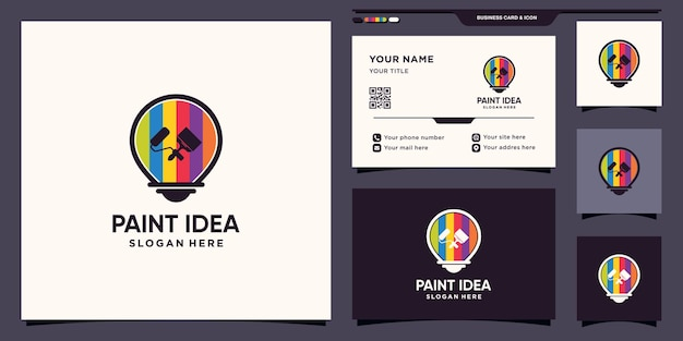 Paint idea logo with bulb concept and business card design premium vector
