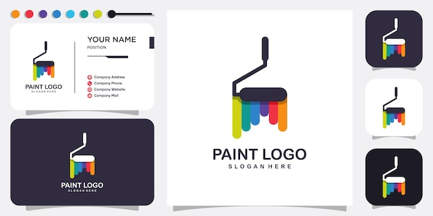Paint logo abstract with modern concept premium vector