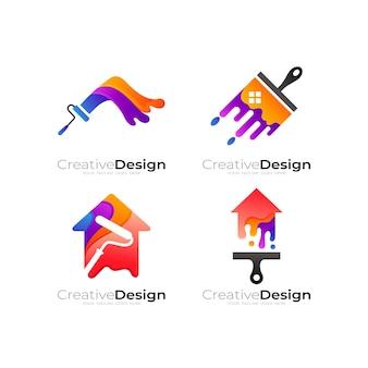 Сочетание логотипа краски и дизайна дома, красочный стиль