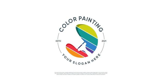 Раскрасьте логотип с уникальной концепцией premium векторы