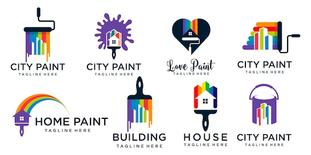 Paint logo icon set  template design vector