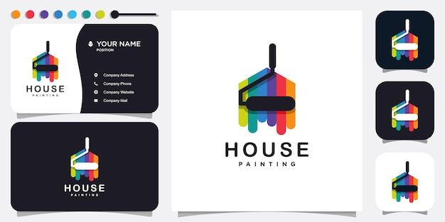 Paint logo with modern house concept premium vector