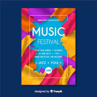 Paint music festival poster template