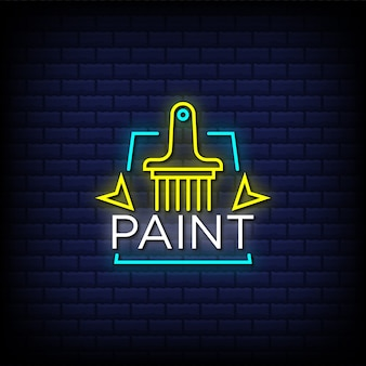 Paint neon signs style text