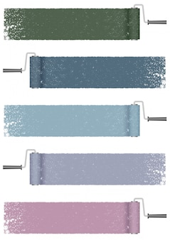 Краска ролик абстрактный фон набор, изолированные на белом фоне. иллюстрации.