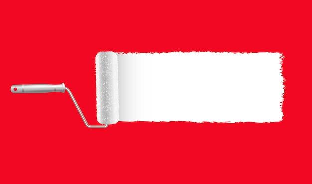 페인트 롤러와 페인트 스트로크 빨간색 배경