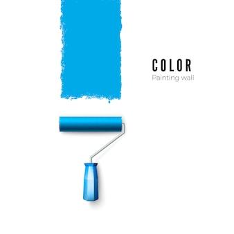 ペイントローラーブラシ。ローラーでペイントするときの青いペイントテクスチャ。白い背景の上の図