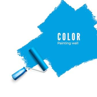 ペイントローラーブラシ。ローラーでペイントするときのカラーペイントテクスチャ。壁を青く塗る。白い背景の上の図
