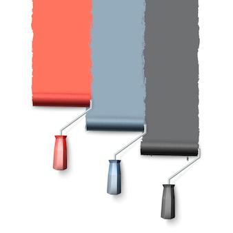 ペイントローラーブラシ。ローラーでペイントするときのカラフルなペイントテクスチャ。 3つのローラーが壁を1つずつ塗ります。白い背景の上の図