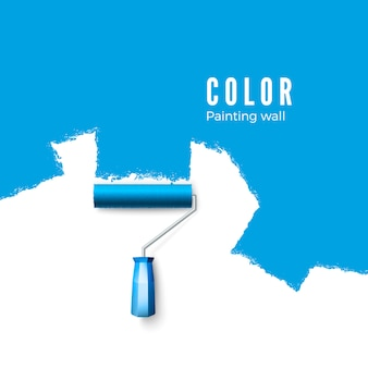 Paint roller brush. paint texture when painting with a roller.  painting the wall in blue.  illustration  on white background