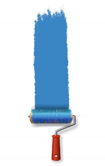 Paint roller leaving stroke of blue paint. for banners, posters, leaflets and brochure