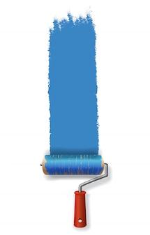 青い塗料のストロークを残しているペイントローラー。バナー、ポスター、チラシ、パンフレット