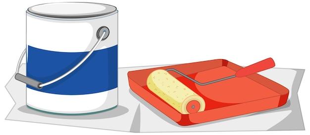 Rullo di vernice con vassoio di vernice e secchio di colore per lavori di pittura