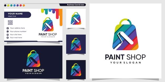 현대적인 색상의 가방 스타일과 명함 디자인 템플릿으로 상점 로고를 페인트하십시오.
