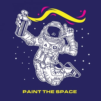 Paint the space astronaut graffiti