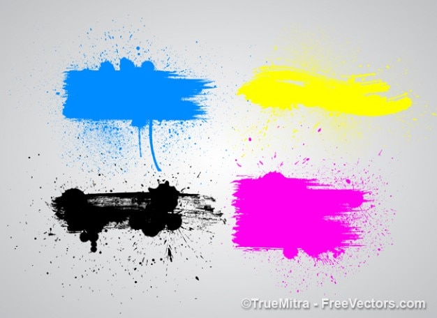 Paint splashes in four colors
