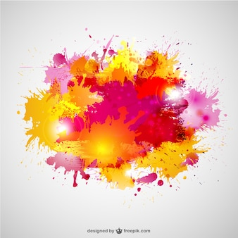 Paint splashes in yellow and pink colors
