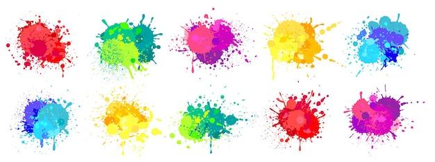 페인트 튄 다채로운 스프레이 페인트 밝아진 무지개 색 잉크 얼룩 얼룩 그런 지 벡터 삭제