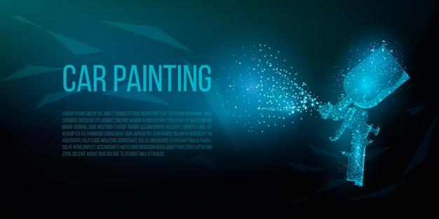 濃い青色の背景にスプレーガンをペイントします。車体修理器具のベクトル多角形イラスト。