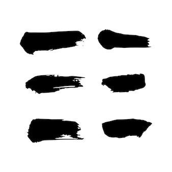 페인트 얼룩 브러시 획 배경이 설정되었습니다. 텍스트, 레이블, 로고에 대한 더러운 예술적 벡터 디자인 요소입니다. hipster 스티커, 페인트 브러시 그런 지 스탬프