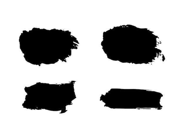 페인트 얼룩 브러시 획 배경이 설정되었습니다. 텍스트, 레이블, 로고에 대한 더러운 예술적 벡터 디자인 요소입니다.