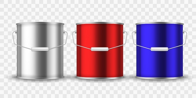 Paint steel can. silver bucket metal cans package paint aluminum container with handle for interior renovation realistic