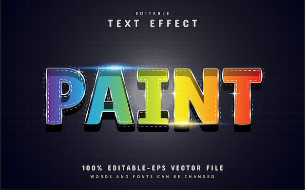 Paint text effect with colorful gradient