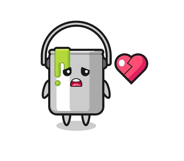 Краска олова мультфильм иллюстрация - разбитое сердце, милый дизайн стиля для футболки, стикер, элемент логотипа