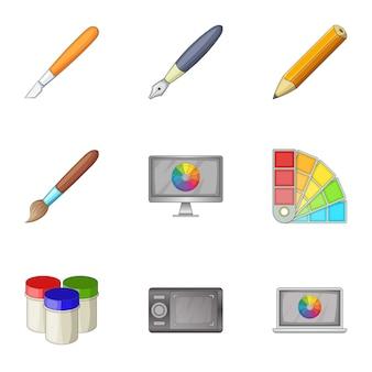 페인트 도구 인터페이스 아이콘 세트, 만화 스타일