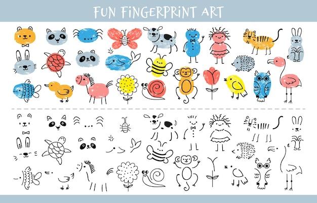 지문으로 페인트하십시오. 어린이 지문 학습 예술 게임 및 문자가 있는 퀴즈 워크시트. 어린이 벡터 시트에 대한 교육 도면입니다. 그림을 위한 유치원 또는 보육원 재미있는 활동