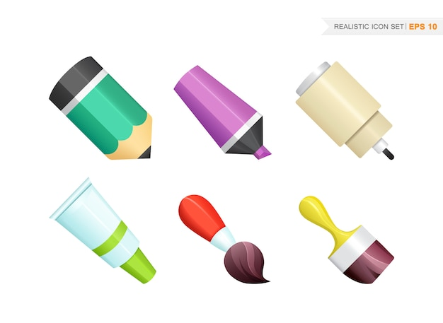 Paint and writing realistic tools collection isolated on the white