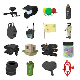 Paintball game cartoon icons set for web and mobile devices