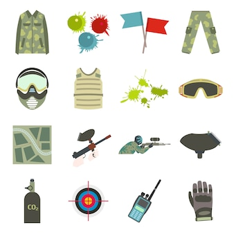 Paintball game flat elements set