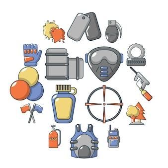 Paintball icon set, cartoon style