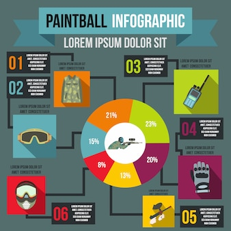 Paintball infographic in flat style for any design
