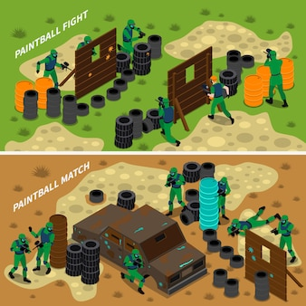Paintball isometric banners