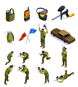 Paintball isometric elements set