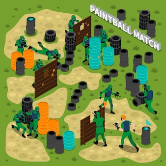 Paintball match isometric illustration