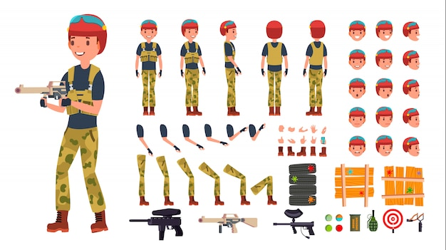 Paintball player male set