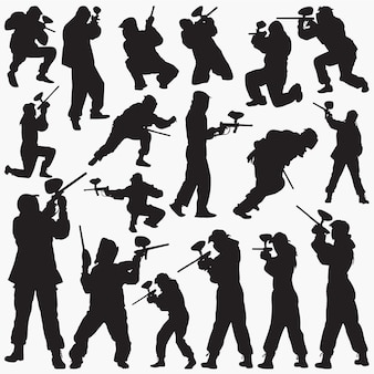 Paintball player silhouettes