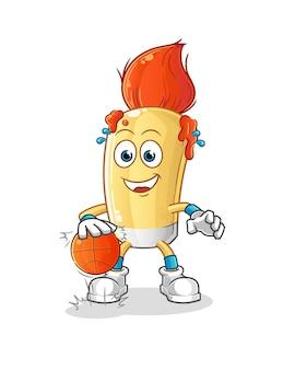 The paintbrush dribble basketball character. cartoon mascot