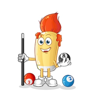 The paintbrush plays billiard character. cartoon mascot