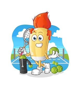 The paintbrush plays tennis illustration. character