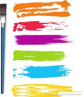 Paintbrush strokes and brush. brushes.