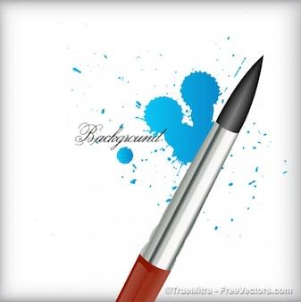 Paintbrush with blue plash