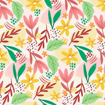 Painted abstract floral pattern