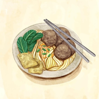 Painted bakso in bowl in watercolor