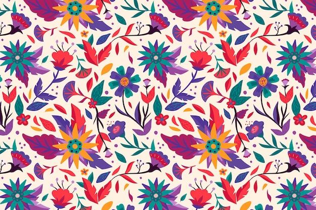 그린 아름다운 이국적인 꽃 패턴