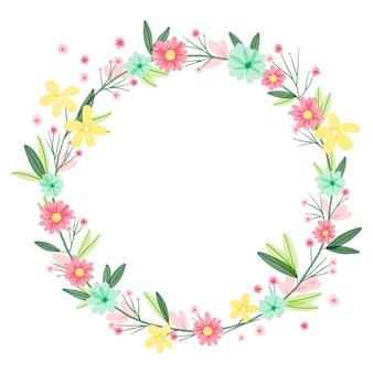 塗られた美しい花のフレーム